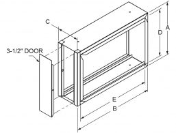 "Filter Frames - 4-1/4"" wide with 3-1/2"" door drawing"