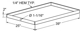 "A4 - Drain Pans - 2"" High - c/w PVC Fitting - 25 x 39 drawing"
