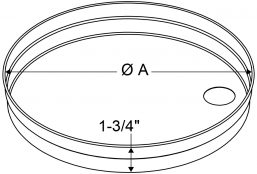 "A4 - Drain Pans - Spun Round - 1"" high - Bottom Hole only drawing"