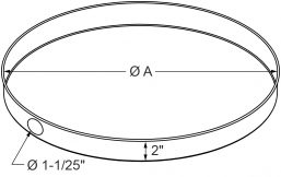 "A4 - Drain Pans - Spun Round - 2"" high - Side hole only drawing"