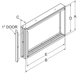 """Filter Frames - 3"""" wide with 1"""" door drawing"""