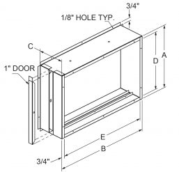 """Filter Frames - Flange out at 90 with 1"""" door drawing"""