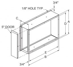"""Filter Frames - 6-3/4"""" wide flange out at 90 with 5"""" door drawing"""