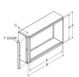 """Filter Frames - 6-3/4"""" wide with 1"""" door drawing"""
