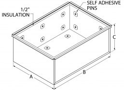 """Furnace Plenum - 1/2"""" Insulated - 3 sided drawing"""